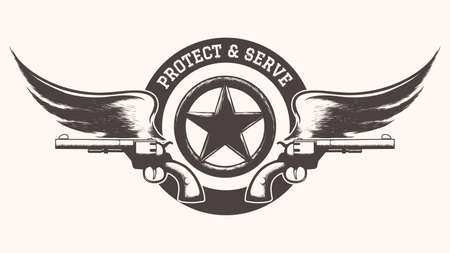 serve: Two guns with wings and star badge against wording Protect and Serve. Free Font used.