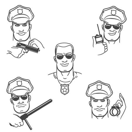 situations: Police officer in various situations. Polisemen face expression set drawn in thin line style.
