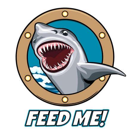 shark cartoon: Emblema de la cabeza del tiburón con la boca abierta en la ventana de la nave y la redacción me alimenta. estilo de dibujos animados. Fuente libre usado.