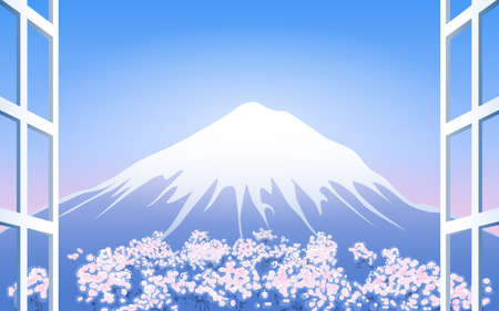 horizon reflection: Cherry Blossoms around snow mountain. View from window.