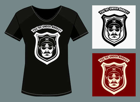 under arrest: T-shirt  print template with policeman head and wording you are under arrest. Free font used.