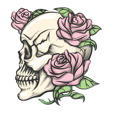 black and white image drawing: Human skull with roses drawn in tattoo style. Isolated on white.