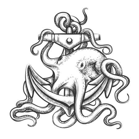 Octopus with an anchor drawn in tattoo style. Isolated on white.