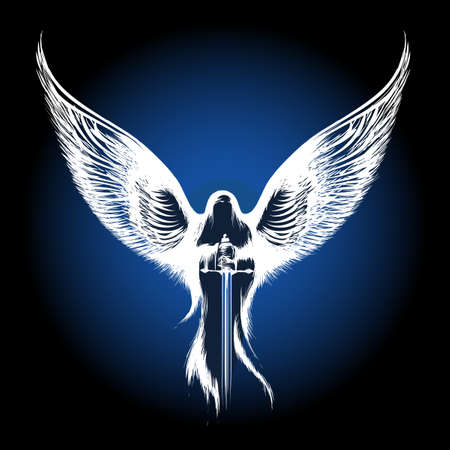 Engel mit Schwert gegen dunkelblauen Hintergrund. Abbildung in Skizze Stil.