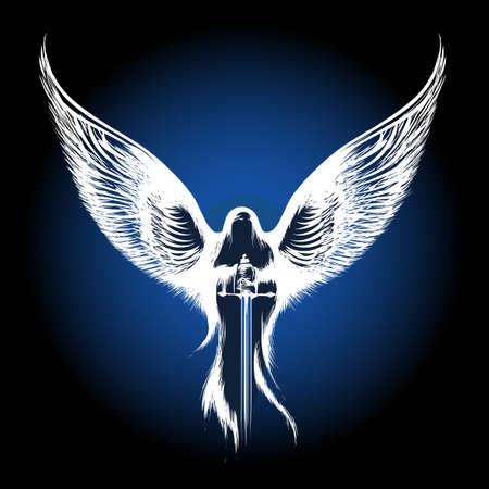 engel tattoo: Engel mit Schwert gegen dunkelblauen Hintergrund. Abbildung in Skizze Stil. Illustration