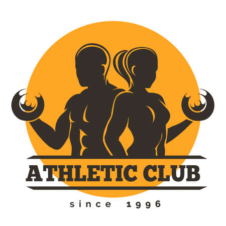 male bodybuilder: Sport, Gym or Athletic Club Emblem. Woman and Man holds dumbbells. Free font used. Isolated on white. Illustration