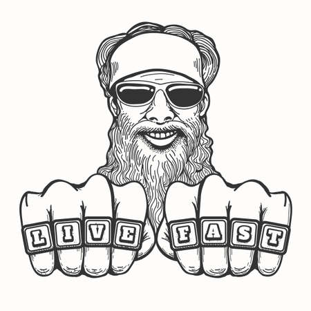Bearded smiling biker in glasses and bandana holds his fists with club rings Live Fast. Illustration in cartoon style. Çizim