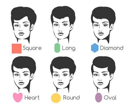 forehead: Set of six womans face shapes. Isolated on white. Free font used. Illustration