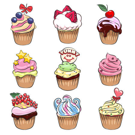 cupcakes isolated: Set of nine colorful delicious cupcakes drawn in cartoon style. Isolated on white background.