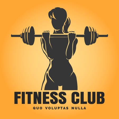 Fitness Club emblem. Training Woman with barbell and text sample. Free font used.