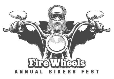 Biker riding a motorcycle drawn in hand made style. Bikers event or festival emblem. Free font used.
