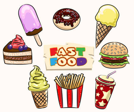 fried potatoes: Set of Fast Food. Muffin, icecream, pice of pie, hamburger, fried potatoes, soft drink drawn in cartoon style.