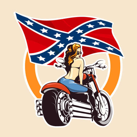 Girl ride a motorcycle against confederate flag. Bikers Club or bikers festival emblem or sticker.