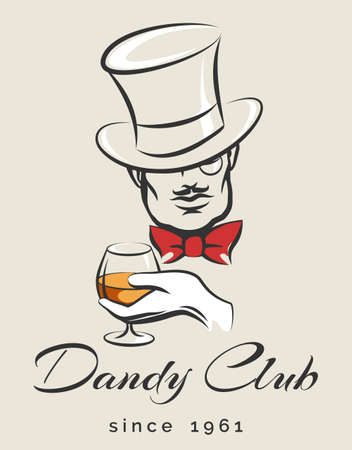 dandy: Dandy or Mens Club emblem with gentleman holds glass of scotch. illustration in retro style. Free font used. Illustration