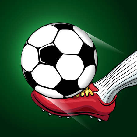 sporting: Soccer player foot shooting a ball. Sporting football or Soccer theme.