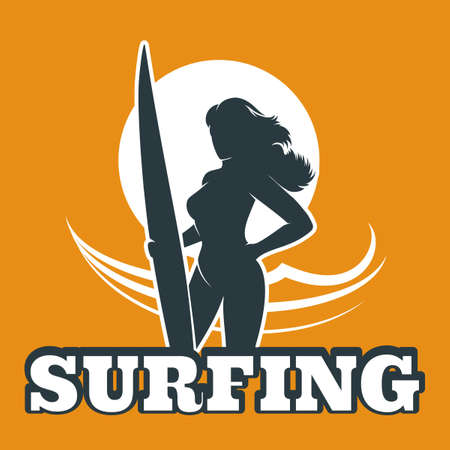 wave surfing: The woman with surfboard against ocean wave. Surfing club emblem. Illustration