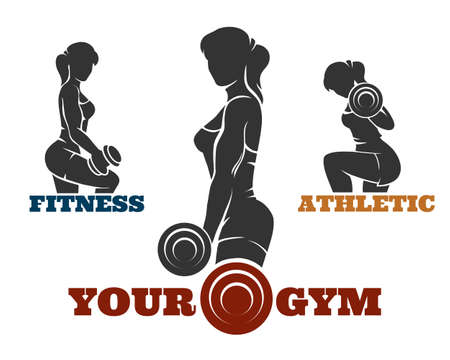 Fitness and gym set. Athletic women silhouettes. Fitness club, bodybuilder exercises concept. Isolated on white background