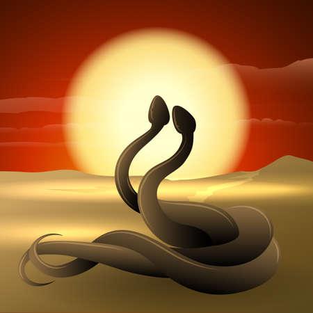 Dos serpientes bailando en una duna de arena contra el paisaje del desierto puesta del sol. Ilustración de vector