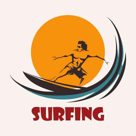 Surfista paseos en un longboard. Navegar en emblema del club. Aislado en el fondo blanco.