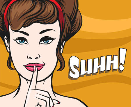 Woman face with Finger on her Lips. Hush gesture and wording Shhh. Illustration in popart style. Illustration