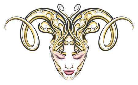 ラムの角を持つ女性の顔。タトゥー スタイルのイラスト。牡羊座の黄道帯の記号要素。