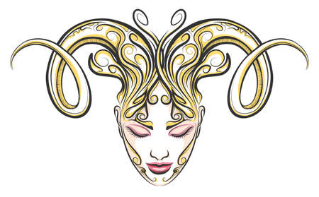 female face with ram horns .Illustration in tattoo style. Aries zodiac sign element. Иллюстрация