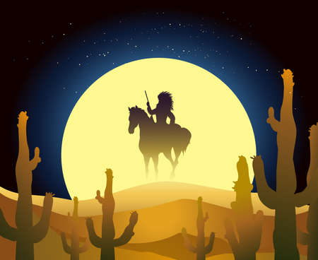 Native American ride a horse against full moon in the desert.