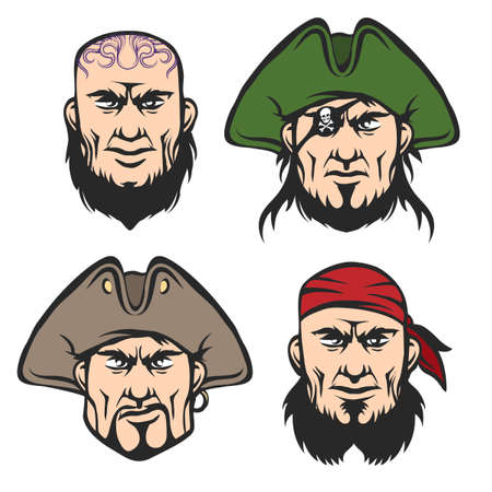 admiral: Pirate Mascot Faces Set. Cartoon  One eyed captain, boatswain, cannoneer and shipman in cartoon style. Isolated on white.