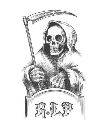 immortal: Death with a scythe on the cemetery over a tombstone. Illustration in engraving style.