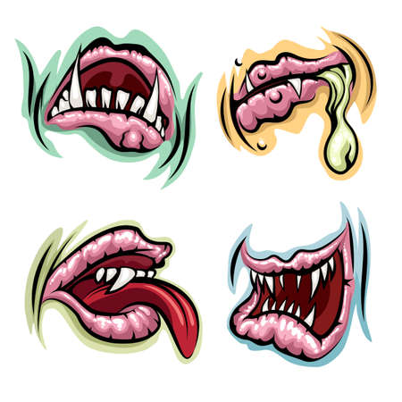 adult birthday party: Monster mouths set. Monster lips, tongue and open mouths with teeth.