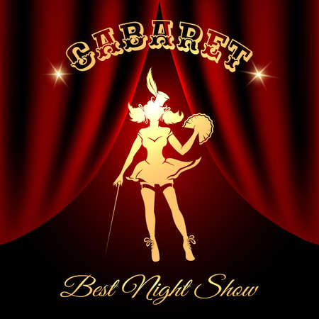 Burlesque dancer silhouette against red curtains and lettering Cabaret. Free font used.