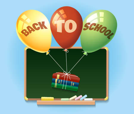 secondary colors: Back to school illustration with chalkboard and balloons with books.