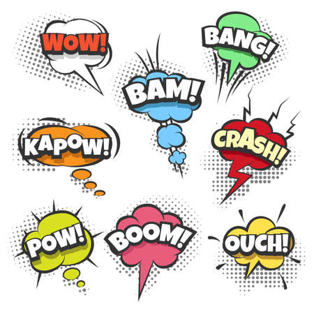 kapow: Comic sound effects text in sound bubbles. Illustration in pop art style.
