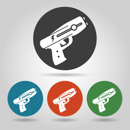electroshock: Police stun gun icon set. Weapon icons in flate style.