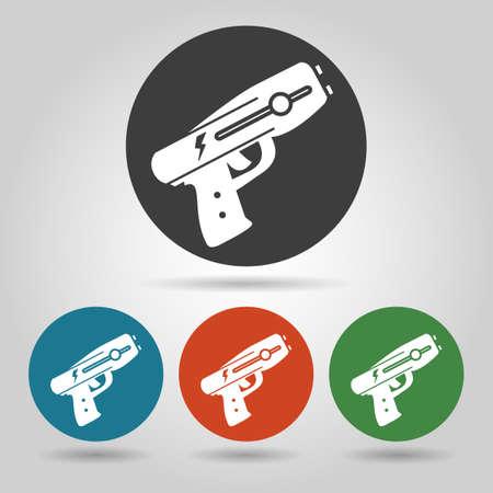 Police stun gun icon set. Weapon icons in flate style.