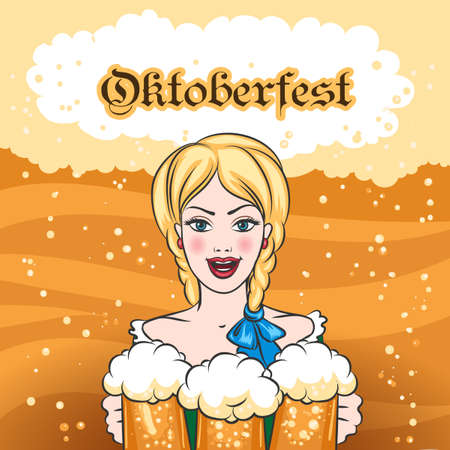 Pretty woman with mugs of beer and wording Oktoberfest. Famous Beer Festival Emblem.