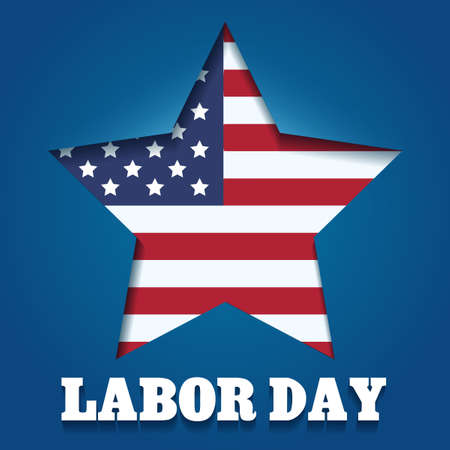 American Labor Day Emblem. American flag in star shape and wording Labor day. Illustration