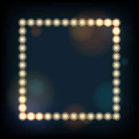 light show: Retro presentation frame with lighting bulbs against defocused background. Illustration