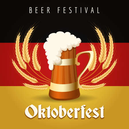 beer festival: German Beer Festival Oktoberfest Emblem. Beer Mug against barley ears and German national flag. Illustration