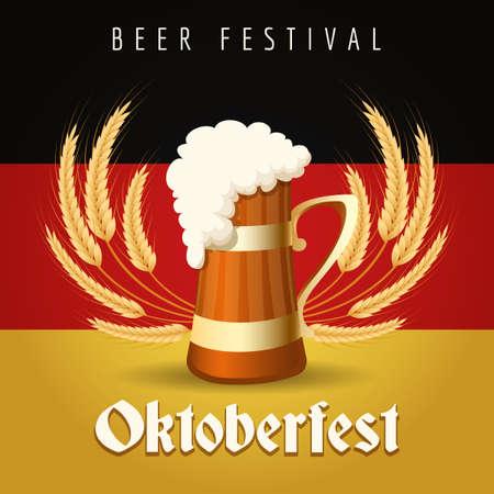 German Beer Festival Oktoberfest Emblem. Beer Mug against barley ears and German national flag. Illustration