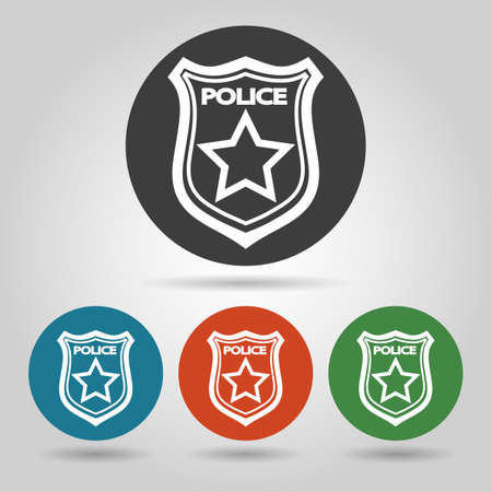 sergeant: Police badge symbol set. Flat icons on colorful backgrounds.