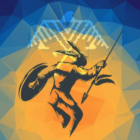 origin of man: Native American in war dance ritual against indian eagle totem sign. Illustration