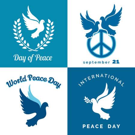 Design-Satz von Internationalen Tag des Friedens. Taube des Friedens, pazifischer Zeichen, Lorbeerkranz und Zweig.