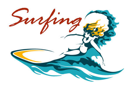 Surfing Club or Camp label with female surfer on long board riding a wave.