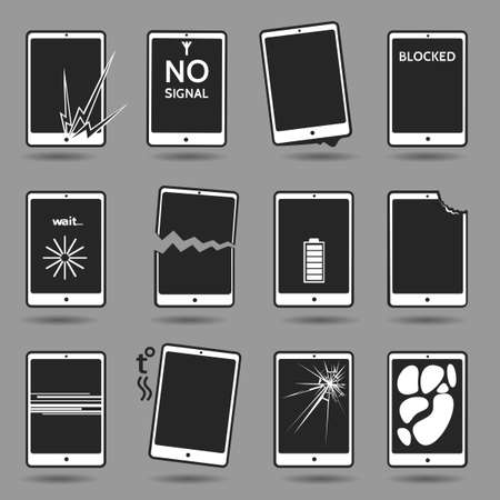weak: Set of damaged mobile phones. Cracked screen, broken case, water damage, software error, weak battery, overheating, lost password, blocking, dog bite, connection error. Illustration
