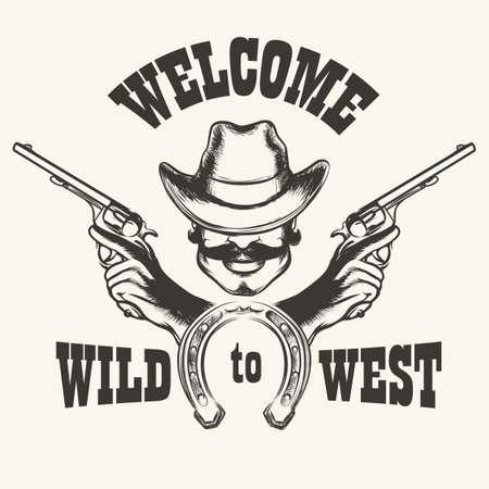 cartel de bienvenida retro Wild West. cabeza humana en el sombrero de vaquero con dos armas de fuego y de herradura.