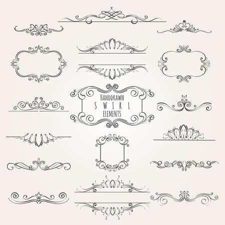 빈티지 장식 소용돌이 테두리 프레임 및 분배기 컬렉션. 일러스트