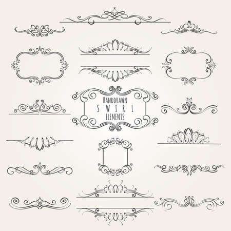 Vintage decorative swirl borders frames and dividers collection. Çizim