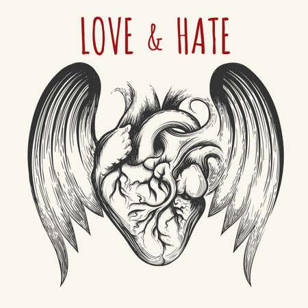 Liefde & Haat tattoo. Menselijk hart met vleugels en verwoording.