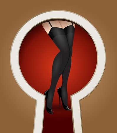 seduction: Woman legs in stockings seen through a key hole.